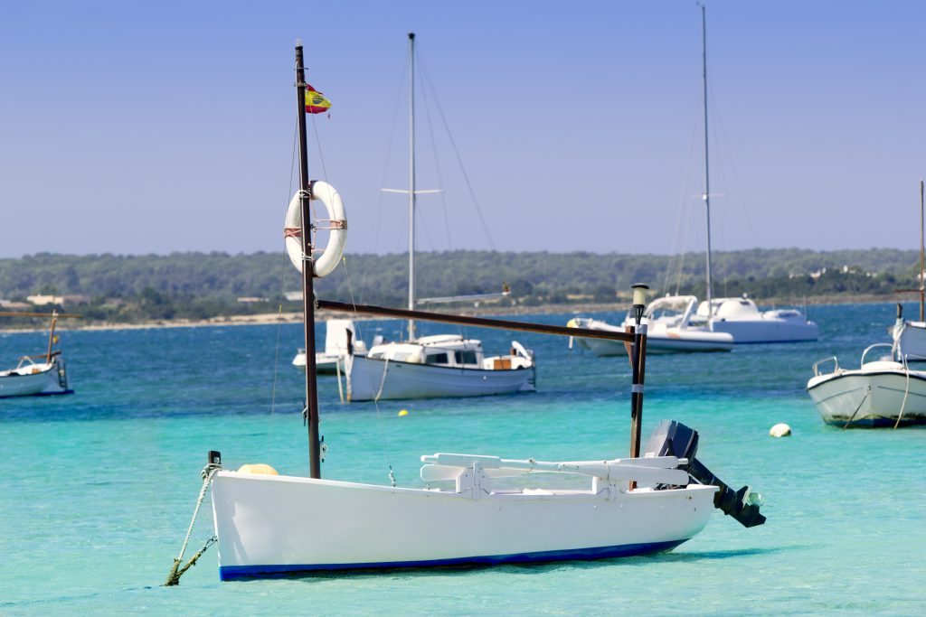 estany des peix in Formentera lake anchor boats