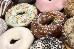 details of separate donuts in close up